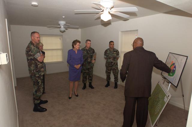 US Senator for North Carolina, Elizabeth Dole, Republican, is briefed on operations aboard Marine Corps Base (MCB) Camp Lejeune, North Carolina, during an official visit