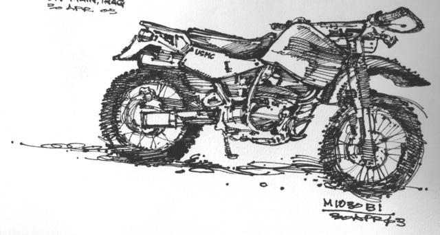 Ink sketch of an M1030 B1 Kawasaki Motorcycle used by the US Marine Corps (USMC) personnel, in support of Operation IRAQI FREEDOM