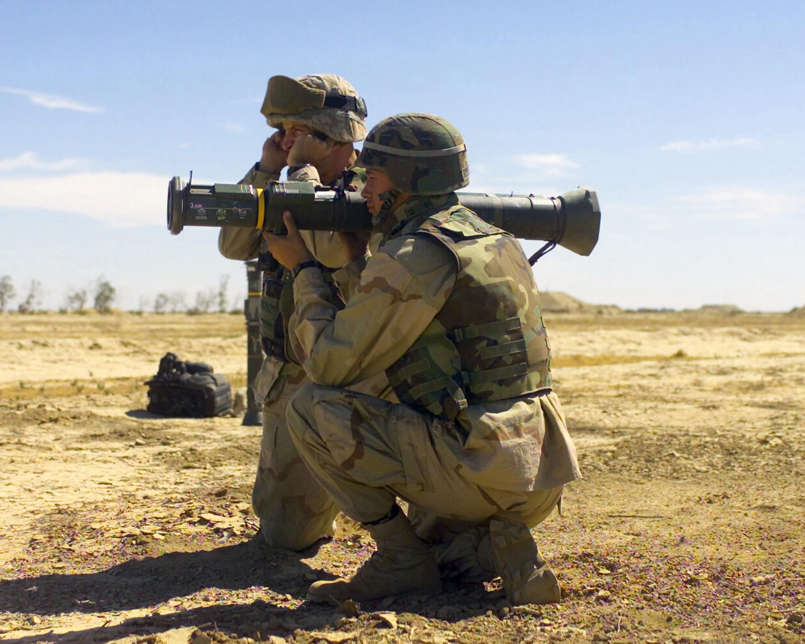 Two US Marine Corps (USMC) members with the 2nd Battalion, 6th ...