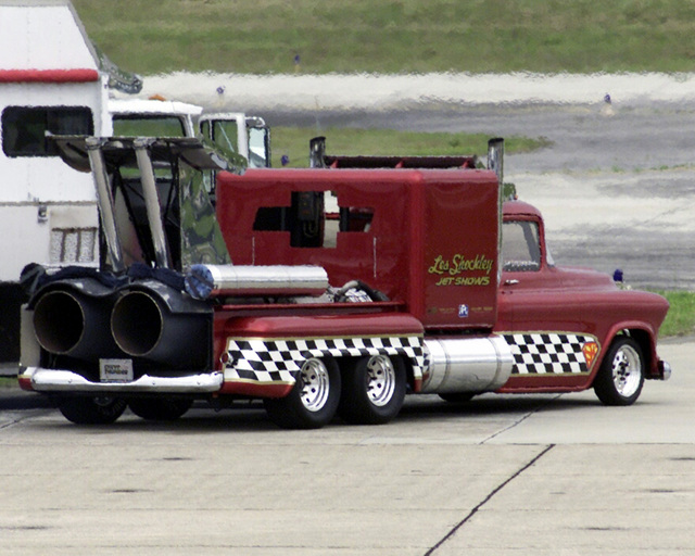 "The ""Super Shockwave"" a 25,000-Horse Powered (HP) jet-engine modified truck, owned by Les Shockley Jet Shows, perpares for a performance during an air show at Marine Corps Air Station (MCAS), Cherry Point, North Carolina (NC)"