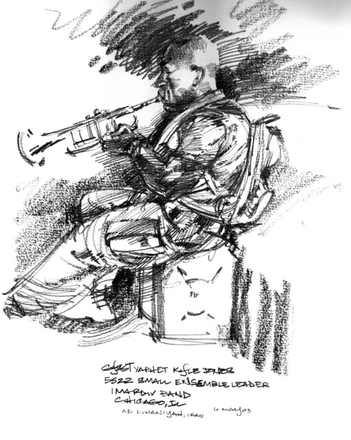 Graphite sketch of the US Marine Corps (USMC) 1ST Marine Division Band Small Ensemble Leader GUNNERY Sergeant (GYSGT) Yaphet Kyle Jones, from Chicago, Illinois, as he practices the trumpet at Ad Diwaniyah, Iraq, durnig Operation IRAQI FREEDOM