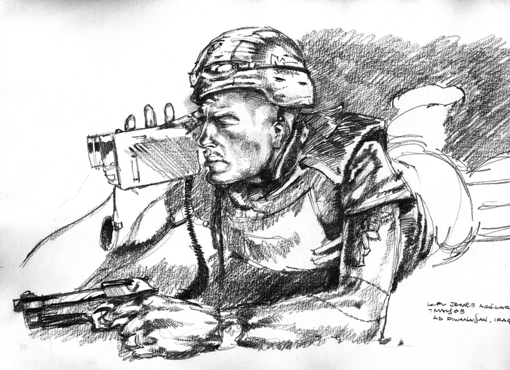 A hand-sketched illustration by US Marine Corps (USMC) Sergeant (SGT) Jack M. Carrillo, showing USMC Lance Corporal (LCPL) James Aguilar Camden, a Combat Camera Videographer, armed with his 9mm service pistol, as he documents action at Ad Diwaniyah, Iraq, during Operation IRAQI FREEDOM