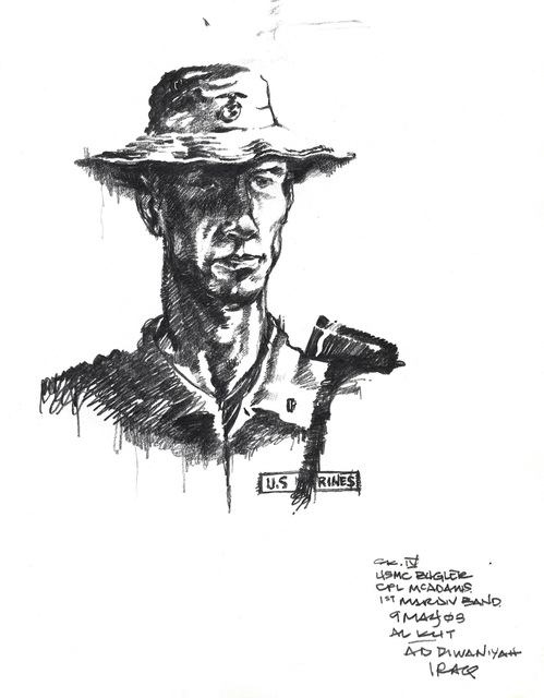 Graphite sketch of the World War One (WWI) Al Kut War Cemetery re-commemoration ceremony with US Marine Corps (USMC) 1ST Marine Division Bugler Corporal (CPL) McAdams, in support of Operation IRAQI FREEDOM