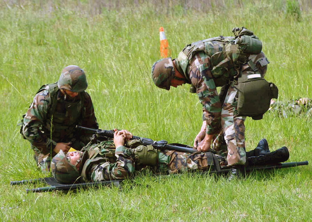 US Marine Corps (USMC) members from Marine Wing Support Squadron 273 (MWSS-273) participate in a mass casualty drill during Exercise Battlehog 2003, on Marine Corps Air Station (MCAS), Beaufort, South Carolina