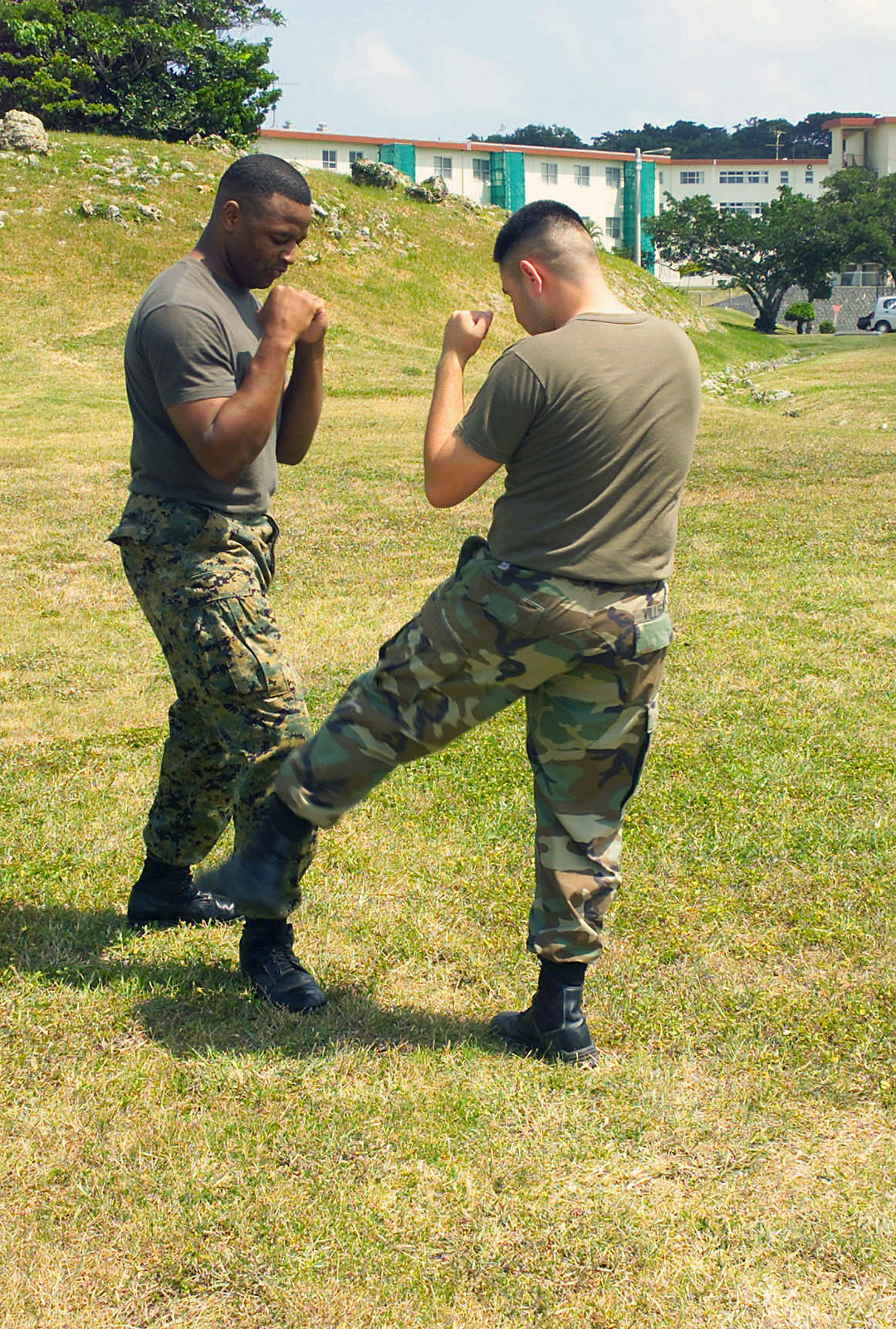 US Marine Corps (USMC) Corporal (CPL) Joe Villegas (right), a Videographer assigned to the Combat Visual Information Center (CVIC), and USMC Sergeant (SGT) Elvis Raines, a Graphic Artist assigned to the CVIC, demonstrate body-hardening exercises during a tan belt instructions course, part of the Marine Corps Martial Arts Program (MCMAP) at Camp Foster, Okinawa, Japan