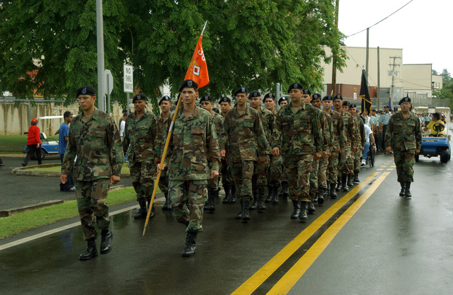 US Army Reserve (USAR) Soldiers march during the Armed Forces Day Parade Celebration, held at Fort Buchanan, Puerto Rico
