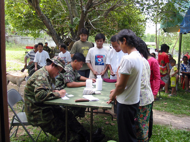 Local Thai villagers sign up to see US Army (USA) Medical Doctors during the Medical Community Assistance Program (MEDCAP) at Ban Dong, Thailand, during Exercise COBRA GOLD 2003