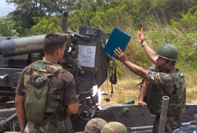 A Royal Thai Marine MASTER Sergeant (right) gives emplacement instructions to US Marine Corps (USMC) Lance Corporal (LCPL) Scott Dobson, before firing M198 155mm Howitzer during a dry fire exercise at Gun Position 10, Pong Nam Ran, Thailand, during Exercise COBRA GOLD 2003