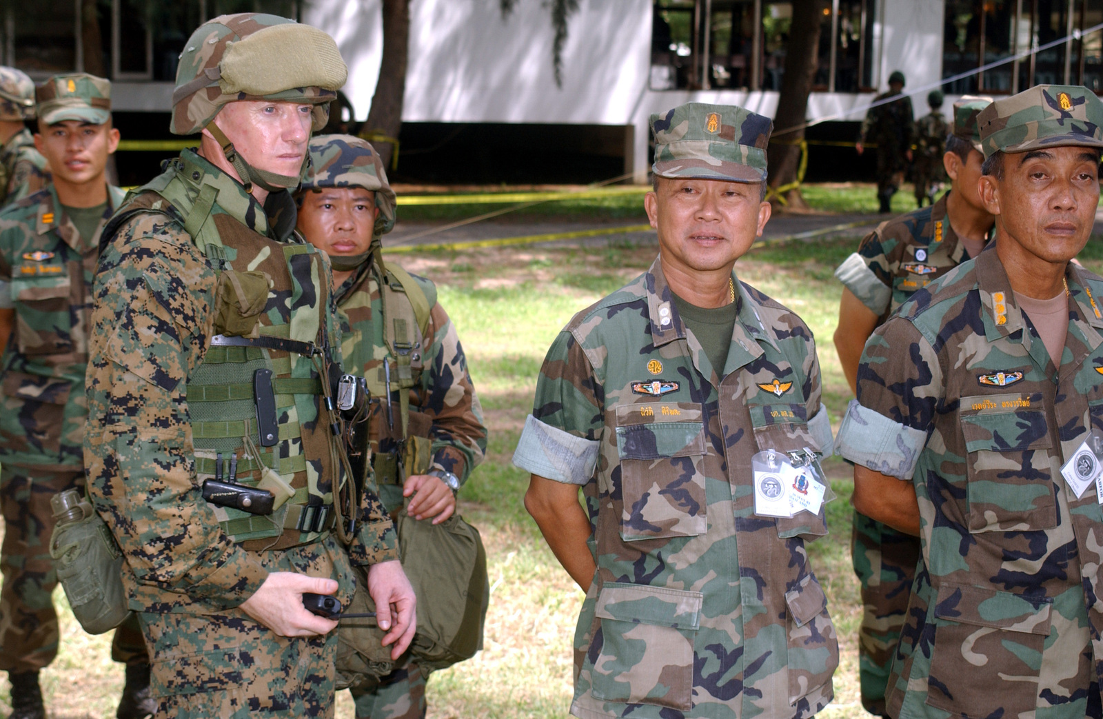 Executive Officer (EO) US Marine Corps (USMC) Lieutenant Colonel (LTC) Donald Lyles and Royal Thai Vice Admiral (VADM) Niwat Siripala, observe the operations during a Non-Combatant Evacuation Operation (NEO), part of Exercise COBRA GOLD 2003