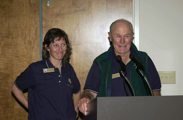 US Air Force (USAF) Brigadier General (BGEN) Chuck Yeager (RET), speaks to the students attending the Air Command and STAFF College (ACSC) during a lunch with various Gathering of Eagle guests