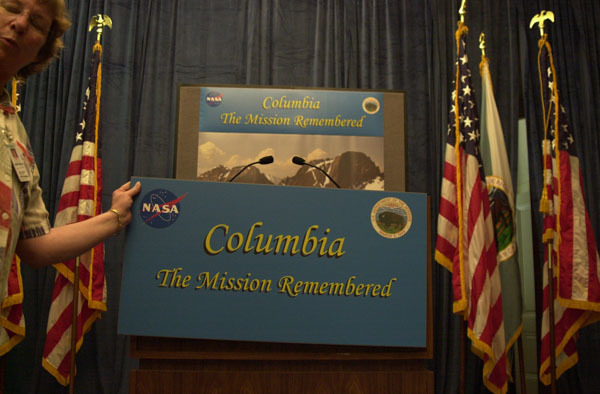 Stage setting for ceremonies at Department of Interior headquarters, Washington, D.C., marking the naming of Columbia Point, a 13,980-feet peak in Colorado's Sangre de Cristo Mountains, in honor of the Space Shuttle Columbia's last voyage