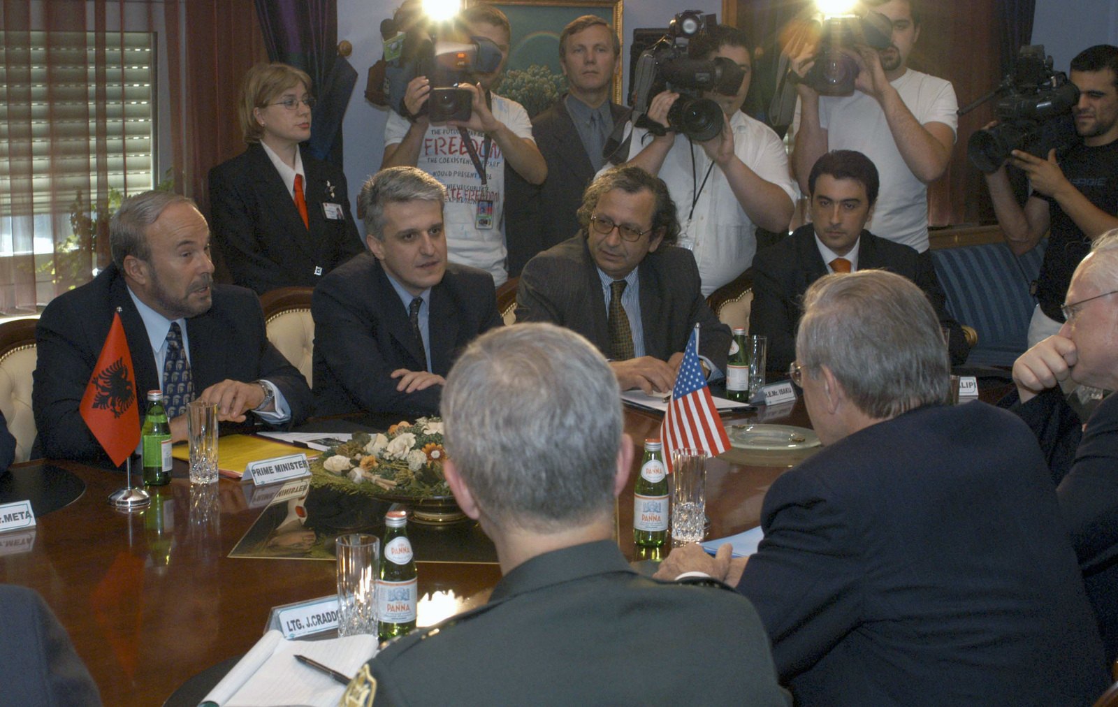 Albanian Prime Minister Fatos Nano (left) and the Minister of Defense Pandeli Majko (2nd from left), and other officials of the Albanian Government, meet with The Honorable Donald H. Rumsfeld, U.S. Secretary of Defense (center foreground) at Tirana, Albania, on Jun. 10, 2003. (DoD photo by Robert D. Ward)