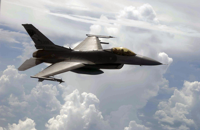 A US Air Force (USAF) F-16C Fighting Falcon from the 175th Fighter Squadron (FS), Sioux Falls, South Dakota (SD), flies over the Gulf of Mexico during a Combat Archer air-to-air Weapons System Evaluation Program (WSEP)