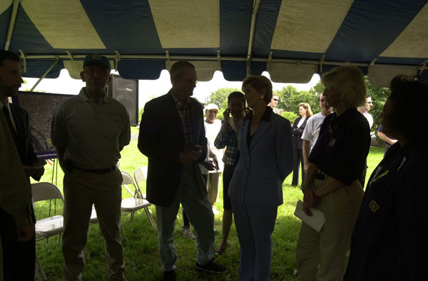 Groundbreaking event for the Anacostia Riverwalk Trail, Washington, D.C., with, left to right, D.C. Transportation Director Dan Tangherlini, D.C. Mayor Anthony Williams, Anacostia Watershed Society's Robert Boone, Environmental Protection Agency head Christine Todd Whitman, Secretary Gale Norton