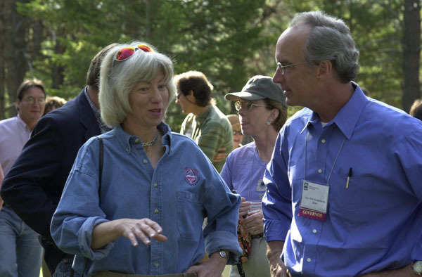 Secretary Gale Norton, left, and Idaho Governor Dirk Kempthorne among the dignitaries on hand for the Western Governors' Association Forest Health Summit in Missoula, Montana, and for related tours of the area, including visit to the Lubrecht Experimental Forest, managed in part by the University of Montana