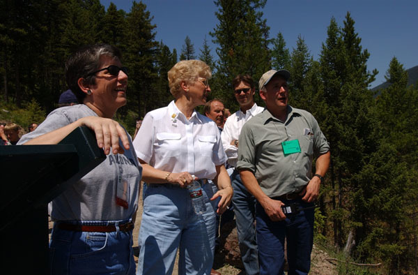 Arizona Governor Janet Napolitano, left, and Montana Governor Judy Martz, center, among the dignitaries on hand for the Western Governors' Association Forest Health Summit in Missoula, Montana, and for related tours, including visits to sites in the Lubrecht Experimental Forest and the Lolo National Forest