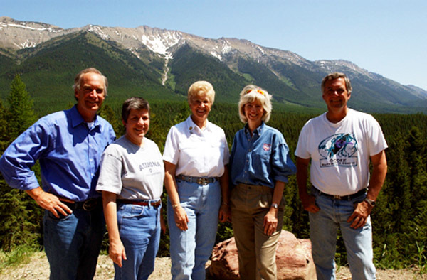 Idaho Governor Dirk Kempthorne, Arizona Governor Janet Napolitano, Montana Governor Judy Martz, Secretary Gale Norton, Forest Service Chief Dale Bosworth, left to right, on hand for the Western Governors' Association Forest Health Summit in Missoula, Montana. Photograph was used in Interior video on Nortonera