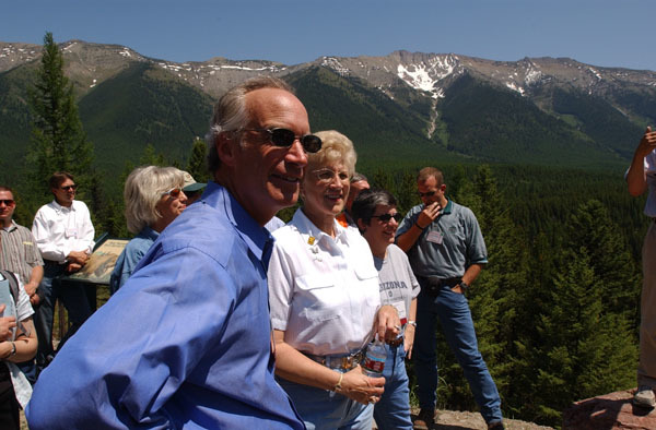 Idaho Governor Dirk Kempthorne, Montana Governor Judy Martz, Arizona Governor Janet Napolitano, left to right, on hand for the Western Governors' Association Forest Health Summit in Missoula, Montana, and for related tours of the area, including visits to sites in the Lubrecht Experimental Forest and the Lolo National Forest