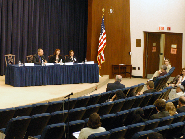 "[Assignment: 59-CF-SA-6520-03] Secretary's Open Forum session in Dean Acheson Auditorium, featuring discussion of Swedish film on sex trafficking involving women from the former Soviet Union, ""Lilja 4-ever.""  [Among the commentators were John Miller, Ambassador-at-Large and Director of State's Office to Monitor and Combat Trafficking in Persons;  and Laura Lederer, Senior Adviser on Trafficking in Persons for the Under Secretary for Democracy and Global Affairs, and founder of The Protection Project at Harvard University's John F. Kennedy School of Government.] [Photographer: Mark Stewart--State] [59-CF-SA-6520-03_Sec_OF_6_27_13.jpg]"