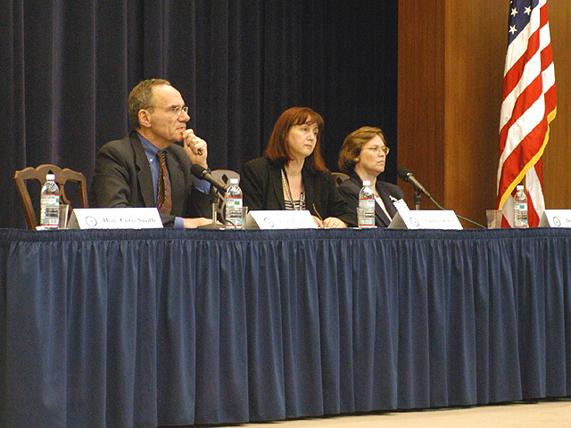 "[Assignment: 59-CF-SA-6520-03] Secretary's Open Forum session in Dean Acheson Auditorium, featuring discussion of Swedish film on sex trafficking involving women from the former Soviet Union, ""Lilja 4-ever.""  [Among the commentators were John Miller, Ambassador-at-Large and Director of State's Office to Monitor and Combat Trafficking in Persons;  and Laura Lederer, Senior Adviser on Trafficking in Persons for the Under Secretary for Democracy and Global Affairs, and founder of The Protection Project at Harvard University's John F. Kennedy School of Government.] [Photographer: Mark Stewart--State] [59-CF-SA-6520-03_Sec_OF_6_27_12.jpg]"