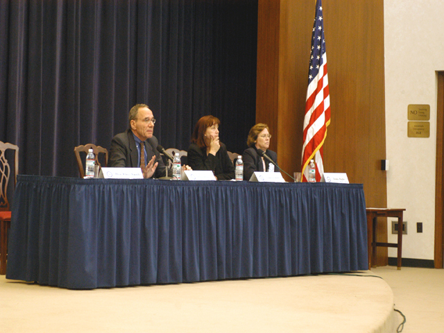 "[Assignment: 59-CF-SA-6520-03] Secretary's Open Forum session in Dean Acheson Auditorium, featuring discussion of Swedish film on sex trafficking involving women from the former Soviet Union, ""Lilja 4-ever.""  [Among the commentators were John Miller, Ambassador-at-Large and Director of State's Office to Monitor and Combat Trafficking in Persons;  and Laura Lederer, Senior Adviser on Trafficking in Persons for the Under Secretary for Democracy and Global Affairs, and founder of The Protection Project at Harvard University's John F. Kennedy School of Government.] [Photographer: Mark Stewart--State] [59-CF-SA-6520-03_Sec_OF_6_27_11.jpg]"