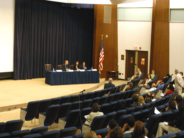 "[Assignment: 59-CF-SA-6520-03] Secretary's Open Forum session in Dean Acheson Auditorium, featuring discussion of Swedish film on sex trafficking involving women from the former Soviet Union, ""Lilja 4-ever.""  [Among the commentators were John Miller, Ambassador-at-Large and Director of State's Office to Monitor and Combat Trafficking in Persons;  and Laura Lederer, Senior Adviser on Trafficking in Persons for the Under Secretary for Democracy and Global Affairs, and founder of The Protection Project at Harvard University's John F. Kennedy School of Government.] [Photographer: Mark Stewart--State] [59-CF-SA-6520-03_Sec_OF_6_27_14.jpg]"