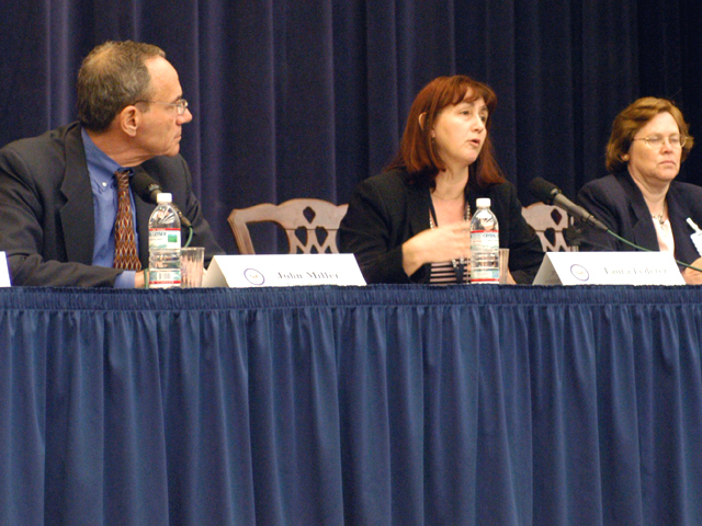 "[Assignment: 59-CF-SA-6520-03] Secretary's Open Forum session in Dean Acheson Auditorium, featuring discussion of Swedish film on sex trafficking involving women from the former Soviet Union, ""Lilja 4-ever.""  [Among the commentators were John Miller, Ambassador-at-Large and Director of State's Office to Monitor and Combat Trafficking in Persons;  and Laura Lederer, Senior Adviser on Trafficking in Persons for the Under Secretary for Democracy and Global Affairs, and founder of The Protection Project at Harvard University's John F. Kennedy School of Government.] [Photographer: Mark Stewart--State] [59-CF-SA-6520-03_Sec_OF_6_27_08.jpg]"