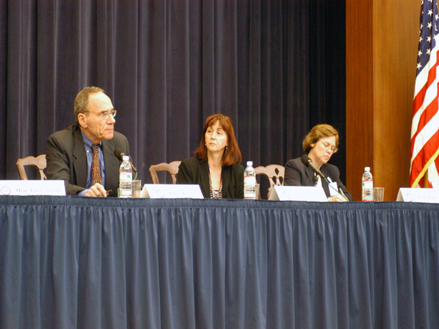 "[Assignment: 59-CF-SA-6520-03] Secretary's Open Forum session in Dean Acheson Auditorium, featuring discussion of Swedish film on sex trafficking involving women from the former Soviet Union, ""Lilja 4-ever.""  [Among the commentators were John Miller, Ambassador-at-Large and Director of State's Office to Monitor and Combat Trafficking in Persons;  and Laura Lederer, Senior Adviser on Trafficking in Persons for the Under Secretary for Democracy and Global Affairs, and founder of The Protection Project at Harvard University's John F. Kennedy School of Government.] [Photographer: Mark Stewart--State] [59-CF-SA-6520-03_Sec_OF_6_27_07.jpg]"