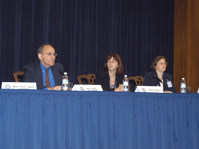 "[Assignment: 59-CF-SA-6520-03] Secretary's Open Forum session in Dean Acheson Auditorium, featuring discussion of Swedish film on sex trafficking involving women from the former Soviet Union, ""Lilja 4-ever.""  [Among the commentators were John Miller, Ambassador-at-Large and Director of State's Office to Monitor and Combat Trafficking in Persons;  and Laura Lederer, Senior Adviser on Trafficking in Persons for the Under Secretary for Democracy and Global Affairs, and founder of The Protection Project at Harvard University's John F. Kennedy School of Government.] [Photographer: Mark Stewart--State] [59-CF-SA-6520-03_Sec_OF_6_27_03.jpg]"
