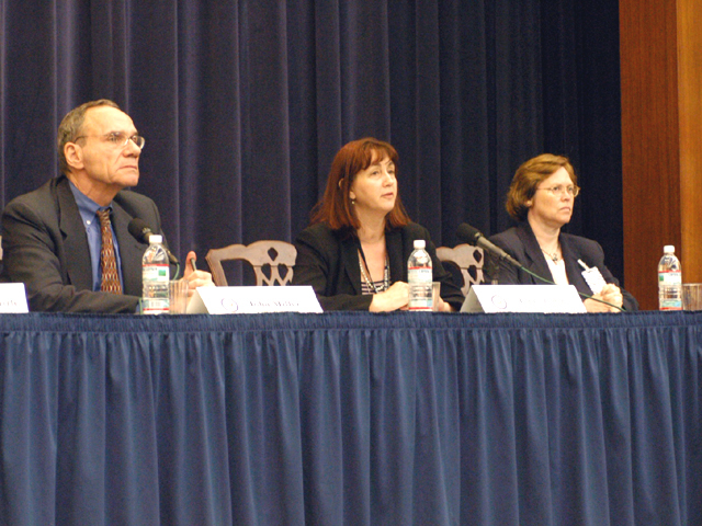 "[Assignment: 59-CF-SA-6520-03] Secretary's Open Forum session in Dean Acheson Auditorium, featuring discussion of Swedish film on sex trafficking involving women from the former Soviet Union, ""Lilja 4-ever.""  [Among the commentators were John Miller, Ambassador-at-Large and Director of State's Office to Monitor and Combat Trafficking in Persons;  and Laura Lederer, Senior Adviser on Trafficking in Persons for the Under Secretary for Democracy and Global Affairs, and founder of The Protection Project at Harvard University's John F. Kennedy School of Government.] [Photographer: Mark Stewart--State] [59-CF-SA-6520-03_Sec_OF_6_27_09.jpg]"