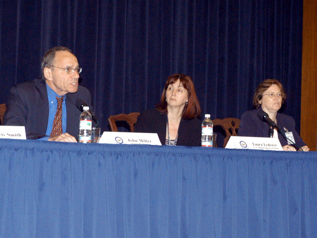"[Assignment: 59-CF-SA-6520-03] Secretary's Open Forum session in Dean Acheson Auditorium, featuring discussion of Swedish film on sex trafficking involving women from the former Soviet Union, ""Lilja 4-ever.""  [Among the commentators were John Miller, Ambassador-at-Large and Director of State's Office to Monitor and Combat Trafficking in Persons;  and Laura Lederer, Senior Adviser on Trafficking in Persons for the Under Secretary for Democracy and Global Affairs, and founder of The Protection Project at Harvard University's John F. Kennedy School of Government.] [Photographer: Mark Stewart--State] [59-CF-SA-6520-03_Sec_OF_6_27_06.jpg]"