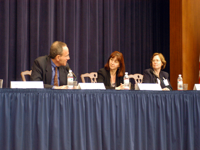 "[Assignment: 59-CF-SA-6520-03] Secretary's Open Forum session in Dean Acheson Auditorium, featuring discussion of Swedish film on sex trafficking involving women from the former Soviet Union, ""Lilja 4-ever.""  [Among the commentators were John Miller, Ambassador-at-Large and Director of State's Office to Monitor and Combat Trafficking in Persons;  and Laura Lederer, Senior Adviser on Trafficking in Persons for the Under Secretary for Democracy and Global Affairs, and founder of The Protection Project at Harvard University's John F. Kennedy School of Government.] [Photographer: Mark Stewart--State] [59-CF-SA-6520-03_Sec_OF_6_27_04.jpg]"