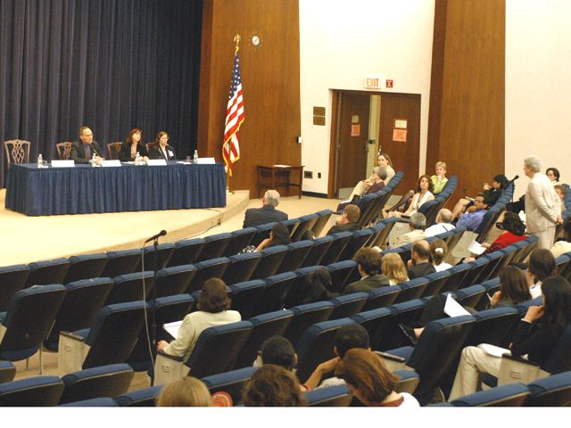 "[Assignment: 59-CF-SA-6520-03] Secretary's Open Forum session in Dean Acheson Auditorium, featuring discussion of Swedish film on sex trafficking involving women from the former Soviet Union, ""Lilja 4-ever.""  [Among the commentators were John Miller, Ambassador-at-Large and Director of State's Office to Monitor and Combat Trafficking in Persons;  and Laura Lederer, Senior Adviser on Trafficking in Persons for the Under Secretary for Democracy and Global Affairs, and founder of The Protection Project at Harvard University's John F. Kennedy School of Government.] [Photographer: Mark Stewart--State] [59-CF-SA-6520-03_Sec_OF_6_27_15.jpg]"