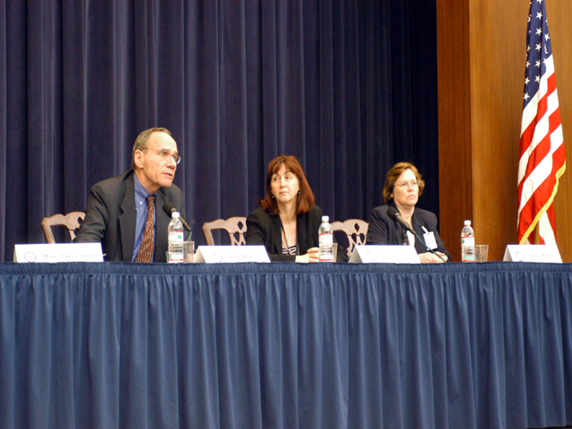 "[Assignment: 59-CF-SA-6520-03] Secretary's Open Forum session in Dean Acheson Auditorium, featuring discussion of Swedish film on sex trafficking involving women from the former Soviet Union, ""Lilja 4-ever.""  [Among the commentators were John Miller, Ambassador-at-Large and Director of State's Office to Monitor and Combat Trafficking in Persons;  and Laura Lederer, Senior Adviser on Trafficking in Persons for the Under Secretary for Democracy and Global Affairs, and founder of The Protection Project at Harvard University's John F. Kennedy School of Government.] [Photographer: Mark Stewart--State] [59-CF-SA-6520-03_Sec_OF_6_27_05.jpg]"
