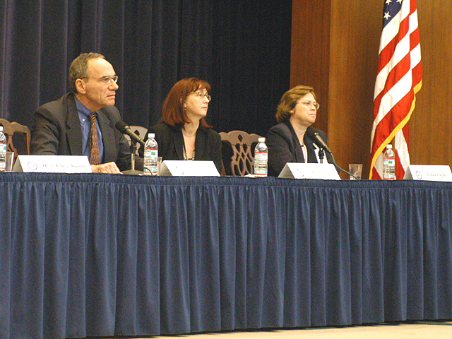 "[Assignment: 59-CF-SA-6520-03] Secretary's Open Forum session in Dean Acheson Auditorium, featuring discussion of Swedish film on sex trafficking involving women from the former Soviet Union, ""Lilja 4-ever.""  [Among the commentators were John Miller, Ambassador-at-Large and Director of State's Office to Monitor and Combat Trafficking in Persons;  and Laura Lederer, Senior Adviser on Trafficking in Persons for the Under Secretary for Democracy and Global Affairs, and founder of The Protection Project at Harvard University's John F. Kennedy School of Government.] [Photographer: Mark Stewart--State] [59-CF-SA-6520-03_Sec_OF_6_27_10.jpg]"