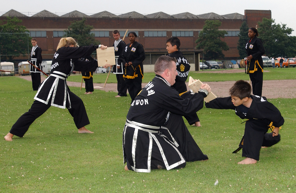 Young students demonstrate the power of their punch by breaking boards at a Kuk Sool Won or Korean National Martial Arts demonstration at Royal Air Force (RAF) Feltwell, England, during US Independence Day festivities