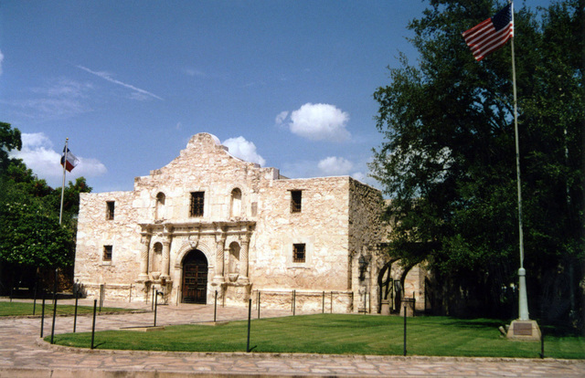 A view of the Alamo Chapel located at #1 Alamo Plaza, San Antonio, Texas (TX). This is the front of the Old Spanish Mission Fort where 189 defenders sacrificed their lives and fought to the death rather than surrender to the forces of the Mexican General Santa Anna in the year 1836