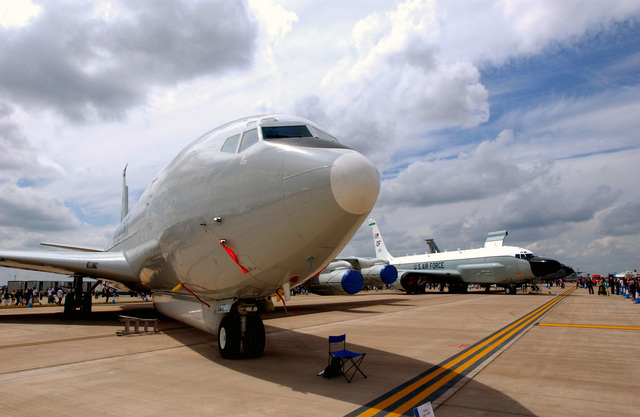 A US Air Force (USAF) AE-8C Joint Surveillance Target Attack Radar System (Joint STARS) and a RC-135V/W Rivet Joint aircraft sit in static display at the Royal International Air Tattoo. This air show is the largest military air show in the world, held at Royal Air Force (RAF) Fairford, England (ENG)