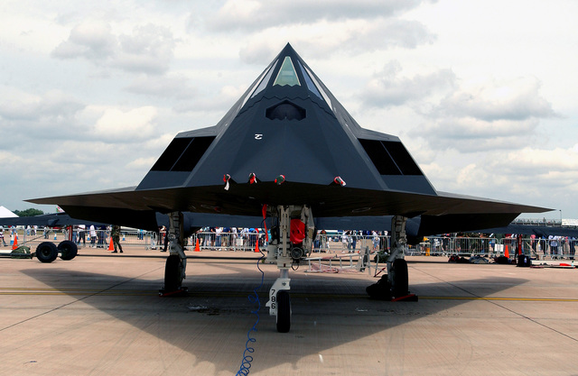 A US Air Force (USAF) F-117A Nighthawk stealth fighter sits on display at the Royal International Air Tattoo. This air show is the largest military air show in the world, held at Royal Air Force (RAF) Fairford, England (ENG)