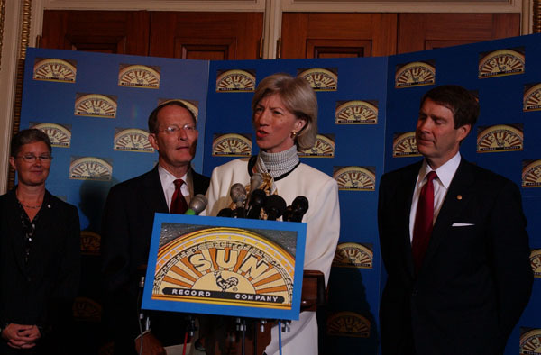 Secretary Gale Norton speaking, with Memphis city administrator Dottie Jones, Tennessee Senators Lamar Alexander and Bill Frist, left to right, at Capitol Hill, Washington, D.C. event designating Sun Records, Memphis Recording Service, the pioneering rock music studio, as a National Historic Landmark