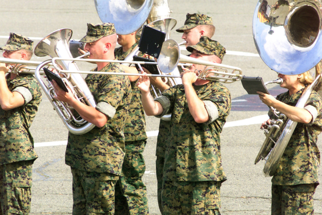 The US Marine Corps (USMC) 1ST Marine Division Band performs during the Change of Command Ceremony held for the 1ST Combat Engineer Battalion (CEB), at Marine Corps Base (MCB) Camp Pendleton, California (CA)