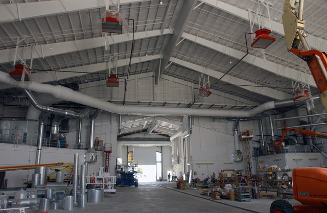 An interior view of the new aircraft fuel cell hangar for the 185th Air Refueling Wing (ARW), Iowa Air National Guard (IAANG), currently under construction at Sioux City, Iowa