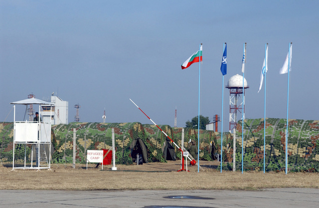A guard tower at a Refugee Camp during a joint training and certification exercise in support of Cooperative Key 2003, which involves many different organizations at Krumovo Air Base (AB), Bulgaria (BGR)