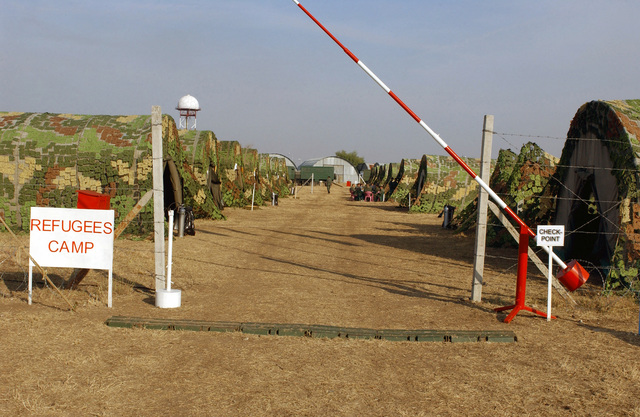 The entrance to a Refugee Camp during a joint training and certification exercise in support of Cooperative Key 2003, which involves many different organizations at Krumovo Air Base (AB), Bulgaria (BGR)