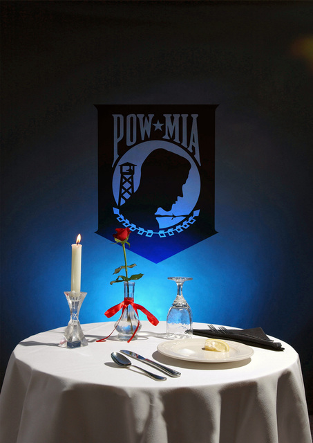 Artwork of the Prisoners Of War and Missing In Action (POW/MIA) cover for the 100th Air Refueling Wing (ARW), Royal Air Force (RAF) Mildenhall, base newsmagazine, the Marauder