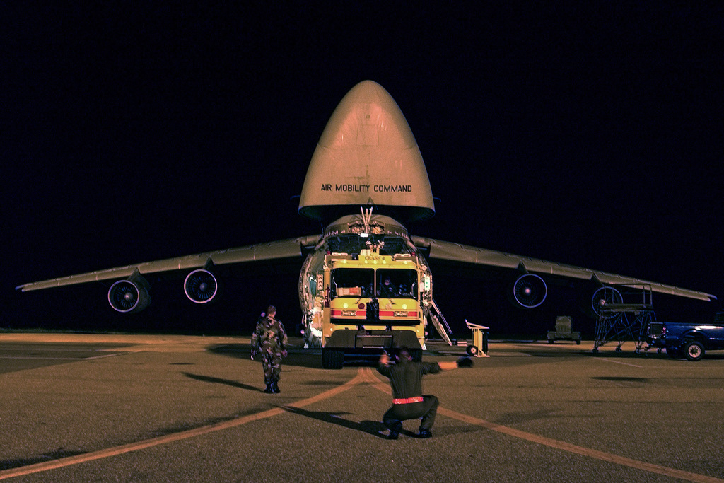 At Dover Air Force Base (AFB), Delaware (DE), one of two P-23 Fire and Emergency Crash Vehicle loaded onto a US Air Force (USAF) C-5 Galaxy cargo aircraft for deployment in preparation for the approaching Hurricane Isabel. The P-23s and members of the 436th Civil Engineering Squadron (CES) Fire Protection Flight accompanied the C-5 and crew to Fort Campbell, Kentucky (KY) to provide assistance to the refugee base