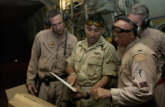 US Air Force (USAF) Major (MAJ) Steve Venticinque (left) and First Lieutenant (1LT) Ben Meadows, 379th Critical Care Air Transport Team (CCATT) & Aeromedical Evacuation Squadron (AES), receive information on incoming patients from USAF Captain (CPT) Ruben Soliz (center) at Al Udeid Air Base (AB), prior to a mission supporting Operation IRAQI FREEDOM. Since July the 379th CCATT saved 30 patients with life threatening injuries within the Southwest Asia area of responsibility (AOR)