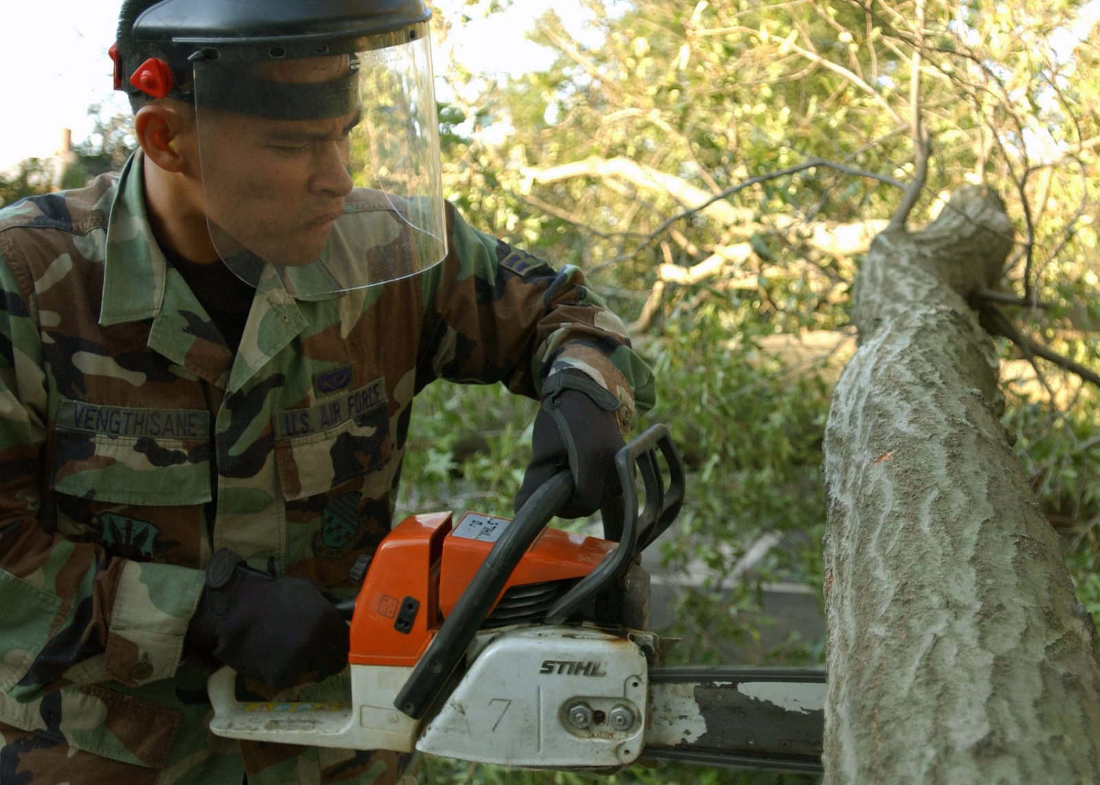 US Air Force (USAF) AIRMAN First Class (A1C) Bee Vengthisane, 1ST Civil Engineer Squadron (CES), uses a chainsaw to cut and clear one of the large number of trees that fell on houses and streets as Hurricane Isabel swept through Langley Air Force Base (AFB), Virginia (VA)