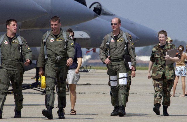 US Air Force (USAF) F-15C Eagle fighter Pilots from the 27th Fighter Squadron (FS) at Langley Air Force Base (AFB), Virginia (VA), returning from a mandatory evacuation to Grissom Air Reserve Base (ARB), Indiana (IN). Langley evacuated all flyable aircraft parked on their runway before Hurricane Isabel made landfall