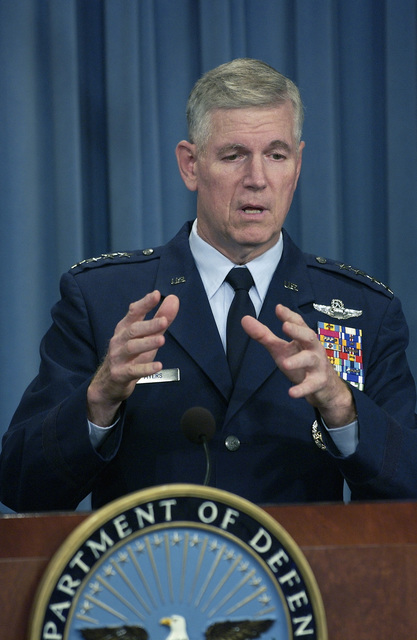 US Air Force (USAF) Chairman of the Joint Chiefs of STAFF (CS) General (GEN) Richard B. Myers, gestures to make his point while responding to a reporter's question during a Pentagon press briefing